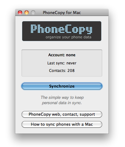 Start PhoneCopy for Mac