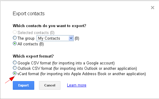 how to create a vcard in gmail