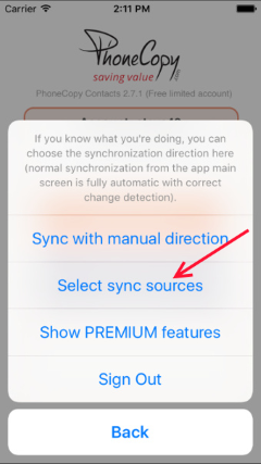 select sync sources