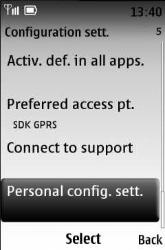 Select Personal config. sett.
