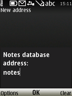 Type Notes into Database address field