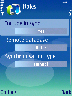 Select Yes in the Include in sync field, type Notes into Remote database field, type Normal into Synchronisation type field