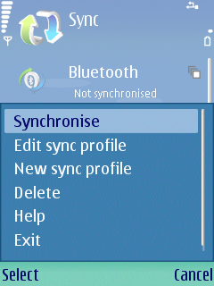 Choose Options and select synchronise