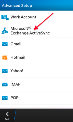 Choose Microsoft Exchange ActiveSync