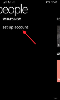 "Choose ""set up account"