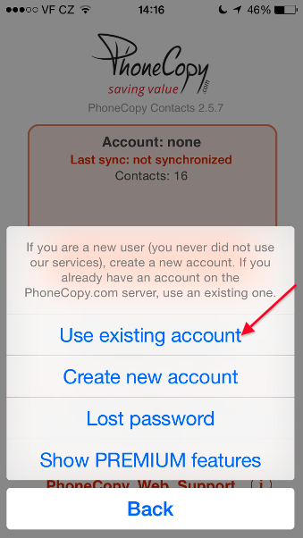 Choose Log into an existing account