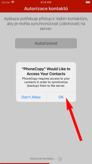 Approve access to contacts