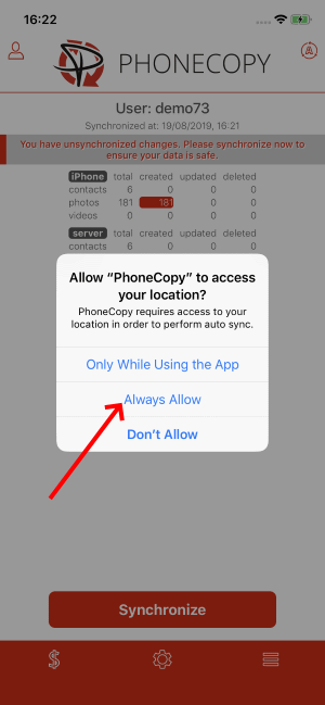 Approve access to location for PhoneCopy App