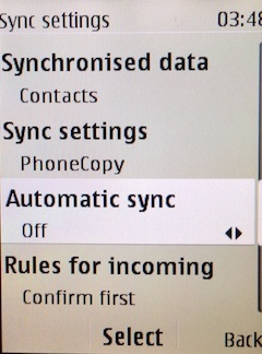Select if you want to use automatic sync