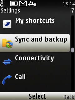 Vyberte Settings - Sync and backup