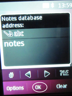 Select Notes database and type Notes.