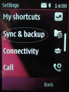 Select settings Sync and Backup
