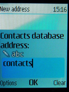 Type contacts into Database address field