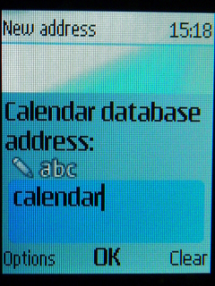 Type calendar into Database address field