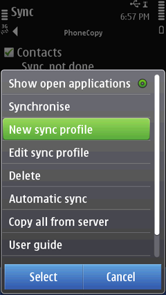 Select New Sync Profile