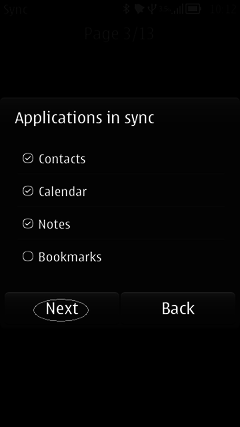 Choose items for synchronize